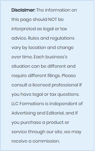 LLC Formations Disclaimer